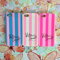 Victoria's Secret PINK Luxe Soft Rubber Stripe Case Covers For iphone 4 4g 4s/5 5g 5s