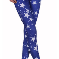 Royal Blue with White Five Point Stars Leggings Design 347