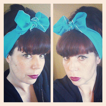Aqua Turquoise Vintage Style Chiffon Hair Scarf Headwrap Hair Bow 1940s 1950s Rockabilly - Pin Up - For Women, Teens