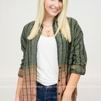 Ombre Print Plaid Oversize Tunic Top