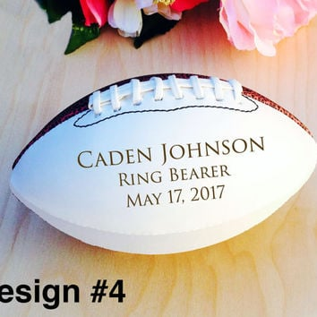 Ring Bearer Gift, Engraved Football, Mini Football, Groomsmen, Engraved Gift, Christmas Gift, Sports, Keepsake, Design #4