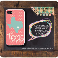 Personalized iPhone Case, Texas State Love iPhone Case, Fits iPhone 4, iPhone 4s, iPhone 5, iPhone 5s, Phone Cover, Phone Case
