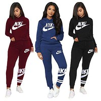 Nike casual fashion stitching printed letters sports suit