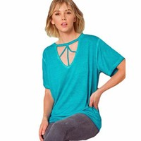 Mia Mineral Wash Cutout Front Women's Tee