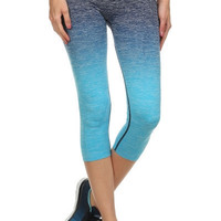 Ombre Yoga Capri Leggings - Large Blue