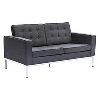 BUTTON LOVESEAT IN WOOL (Black/Gray/Red)