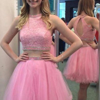 Baby Pink Homecoming Dress,  Two-Piece Tulle Homecoming Dresses with Beadings