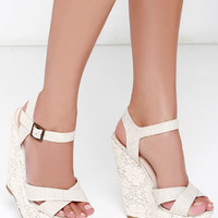 Romantic Notions Beige Linen Lace Wedges