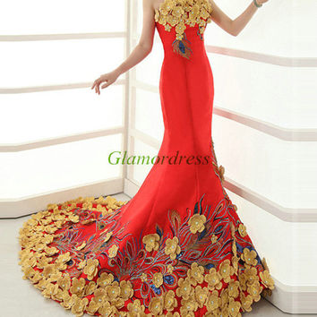 mermaid satin evening dresses / vintage slim wedding gowns with gold flowers / unique simple dress for prom / China style bridal dresses