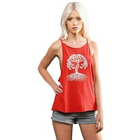 Womens Celtic Tree Spaghetti Tank Top - Poppy Red - Made in USA