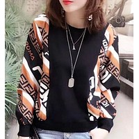 Fendi Women Fashion More Letter Print Long Sleeve Top Sweater Pullover