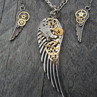 """Reserved for F. T. """"Time Flies"""" - Steampunk Pendant Necklace and Earring Set, Silver Wings & Watch Gears and Parts on Curb Chain and Fr Hks"""