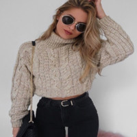 New women's solid color long-sleeved sweater casual pullover sweater women