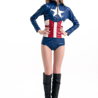 Long Sleeve Bodysuit Captain America Costume