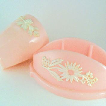 vintage pink soap dish with flowers and matching pink cup set 60s plastic