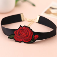 Fashion new One rose embroidery Neck necklace black ground chain