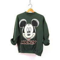 Vintage green Mickey Mouse Sweatshirt / oversized loose fit