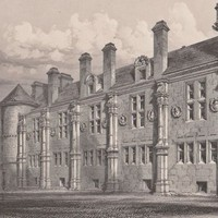 Antique Print The Court Yard of Falkland Palace (A69) by Grandpa's Market