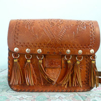 Vintage 70s leather bag  purse / brown hand tooled leather / fringe / hipie folk cottage chic