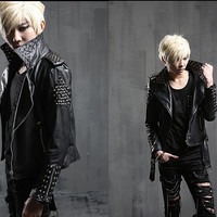 mens slim fit punk rivet stud motorcycle zipper leather coats jackets costumes