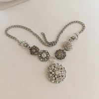 Rhinestone Statement Necklace Silver tone Pendant Reclaimed Vintage Jewelry Assemblage