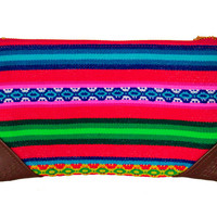 Peruvian Manta Zipper Pull Clutch. Wristlet clutch bag. Pouch with Suede Zipper Pull, Leather Wristlet Strap or pom poms. Woman evening bag