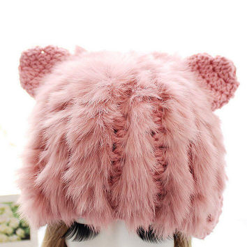 Fur Knit Hat With Ears