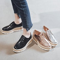 Women Platform Cutout Wedges Shoes Lace Up High Heel Loafers