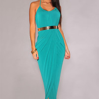 Halter Draped Gold Belted Turquoise Maxi Dress