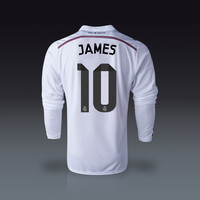 adidas James Rodriguez Real Madrid Long Sleeve Home Jersey 14/15