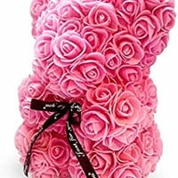 """The 10"""" Pink Rose Hand Made Teddy Bear Artificial Forever Best Gift. Graduation Gift, Flowers for Valentine's Day, Mother's Day, Graduation, Christmas, Anniversaries, Birthdays, Weddings,"""