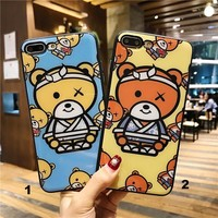 Lovely Pajama bear Glass texture mobile phone case for iPhone X 7 7plus 8 8plus iPhone6 6s plus -171212