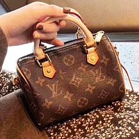 LV Louis Vuitton Women Retro Leather Mini Handbag Tote Crossbody Satchel Shoulder Bag