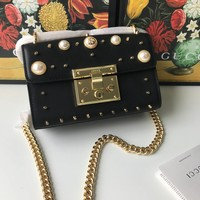 HCXX 19Aug 910 Gucci 409487 Padlock Peal Fashion Rivet Flap Bag Casual Baguette Bag Chain Crossbody Bag 20-15.5-5cm
