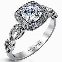 Simon G. Cushion Halo Vintage Style Floral Engagement Ring
