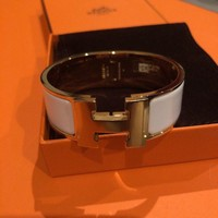 BNIB HERMES CLIC CLAC H Wide BANGLE BRACELET WHITE GOLD Small size