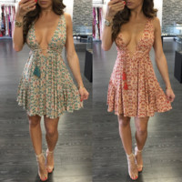 Sexy printing multicolor dress