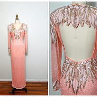 LILLIE RUBIN Salmon Beaded Gown // Gatsby Silk Embellished Dress // Blush Pink Wedding Gown // Pink Silver & Gold Beaded Dress Small XS