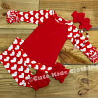 Red Heart Ruffled Valentine Outfit