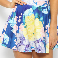 Alice In Wonderland Skirt - Floral Print Skater Skirt