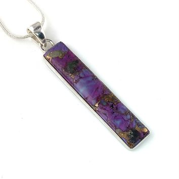 Purple Copper Turquoise Sterling Silver Oblong Pendant