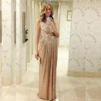 Cheap Sexy Pregnant Dresses Rose Gold Sequin Long Bridesmaid Dresses Vestido Para Madrinha Longo Wedding Party Prom Gown SSX235