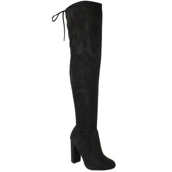 Womens Thigh High Boots Over The Knee Party Stretch Block Mid Heel Size