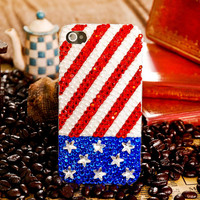 American Flag Rhinestone Pearl Handmade Case For Iphone 4/4S/5