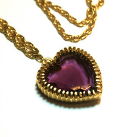 Purple Glass Heart Necklace Gold Tone