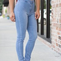 Back From The Past Skinny Jeans: Light Wash