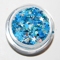 Solvent Resistant Glitter Mix: Blue and White Sparkle Mix 5 GRAM JAR. Raw Glitter Mix for Nail Polish and Nail Art