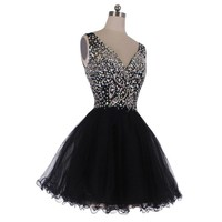 Mic Dresses A-line Short V-neck Straps Tulle Crystal Prom Dresses (US 8, Black)