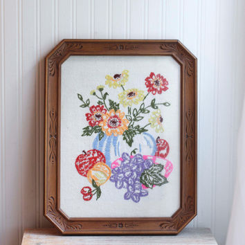 Fruit and Flowers Framed Embroidery Art - Vintage Home Decor