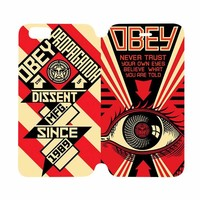 OBEY CLOTHING Wallet Case for iPhone 4/4S 5/5S/SE 5C 6/6S Plus Samsung Galaxy S4 S5 S6 Edge Note 3 4 5